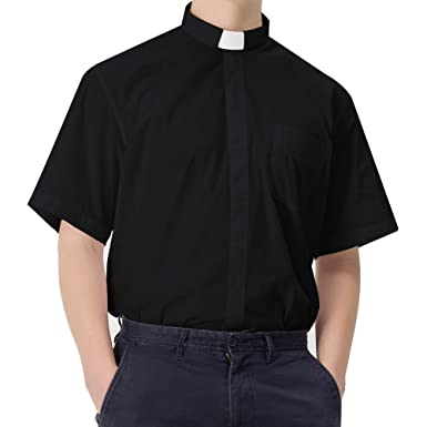 GGS Herren Kurzarm Hemd Klassisches Priesterhemd mit Tab-Kragen ... 73608234a2