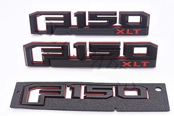 3x OEM F150 XLT Fender Emblem F-150 Rear Tailgate Badge 3D logo Nameplate Replacement for F-150 Black Origianl size Genuine Parts Sanucaraofo