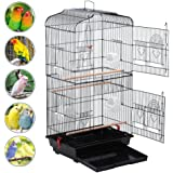 Yaheetech Large Metal Bird Cage Budgie Lovebirds Finches Canary Hanging Medium Parrot Cage Canary Cockatiel 46 x 35.5 x 92cm Black