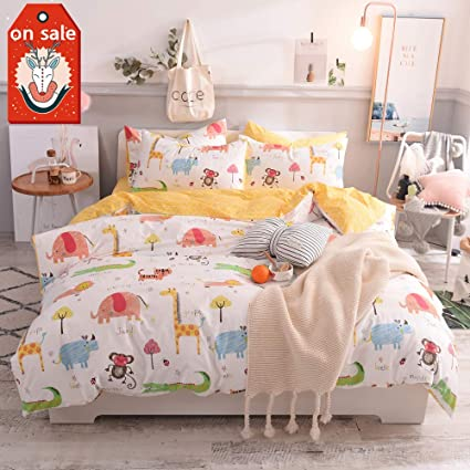 MicBridal Jungle Animal Teen Bedding Sets Queen Cotton White Yellow For  Boys Girls,Cute Elephant