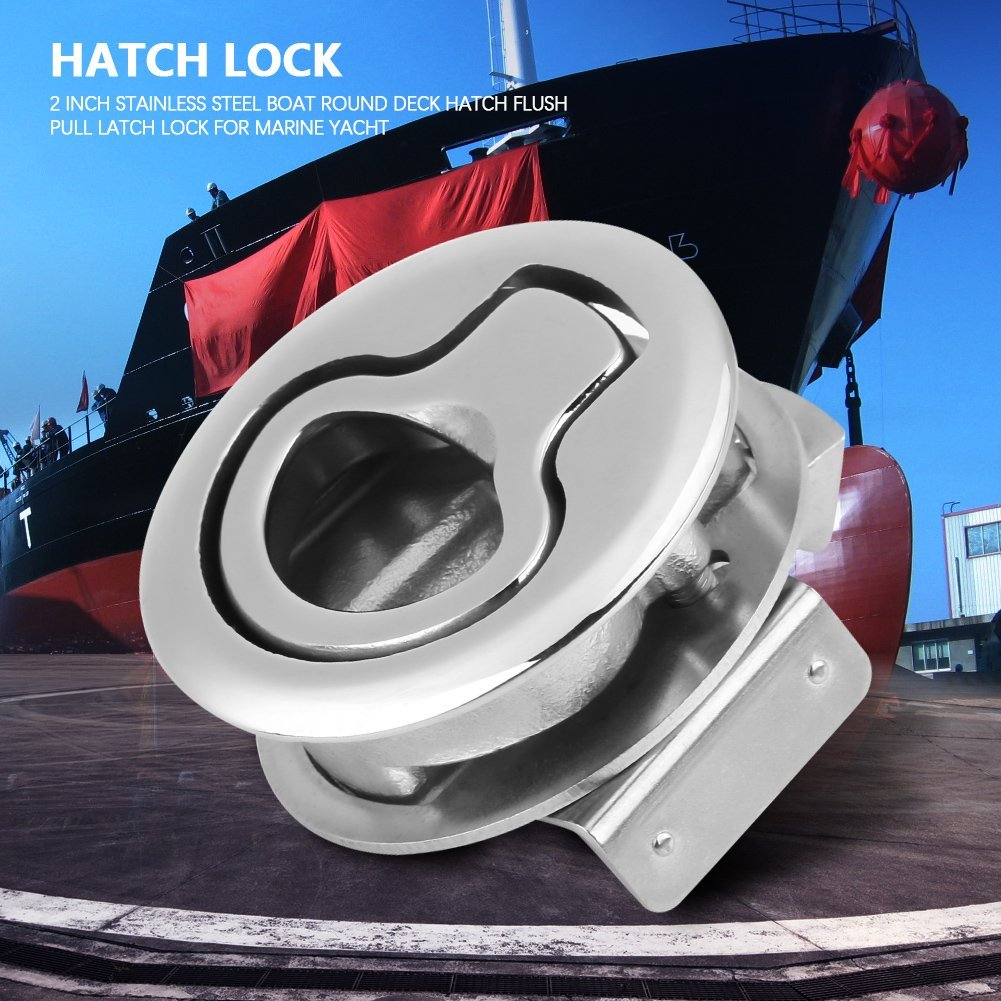Hoffen Round Deck Hatch Flush Pull Latch Turning Lock 2 Inch Lift Handle,Boat 316 Stainless Steel by Hoffen