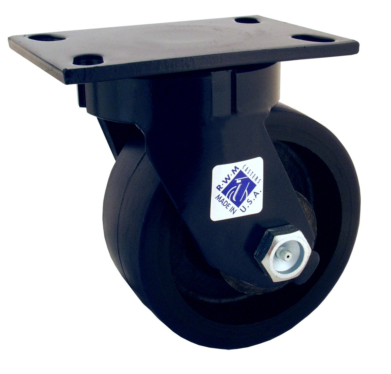 RWM Casters 75 Series Plate Caster, Swivel, Kingpinless, Forged Steel Wheel, Roller Bearing, 5000 lbs Capacity, 6'' Wheel Dia, 2-1/2'' Wheel Width, 7-1/2'' Mount Height, 6-1/2'' Plate Length, 4-1/2'' Plate Width