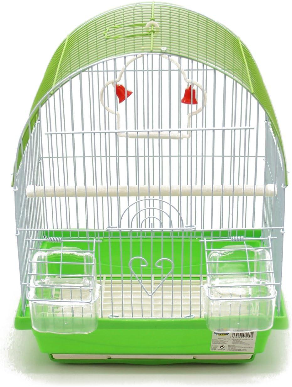 BPS Jaula Pájaros Metal con Comedero Bebedero Columpio Saltador Cubeta Color envia al Azar 30 x 23 x 39 cm BPS-1160