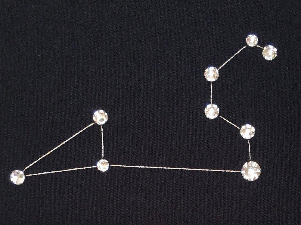 Handmade with Swarovski Crystals Zodiac LEO Constellation Wall Art Framed in Hoop