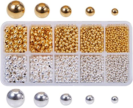 Round Beads Metal Plated Plastic Spacer For Fashions Jewelry Makings Accessories