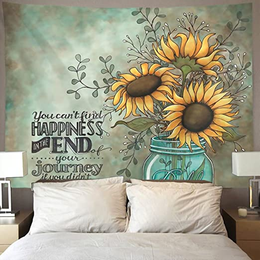 Sunflower Pattern Tapestry Wall Hanging Hippie Bedspread Art Home Decorations