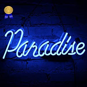 Neon Light Paradise Sign Neon Bar Signs Handmade Glass Man Cave Neon Signs for Gift Pub Christmas Party Store Bedroom Wall Decor Lamp 14