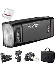 GODOX AD200 Pro Version, 200Ws 2.4G Flash Strobe, 1/8000 HSS, 500 Full Power Flashes, 0.01-2.1s Recycling, 2900mAh Battery, Bare Bulb/Speedlite Fresnel Flash Head, Lightweight Compact