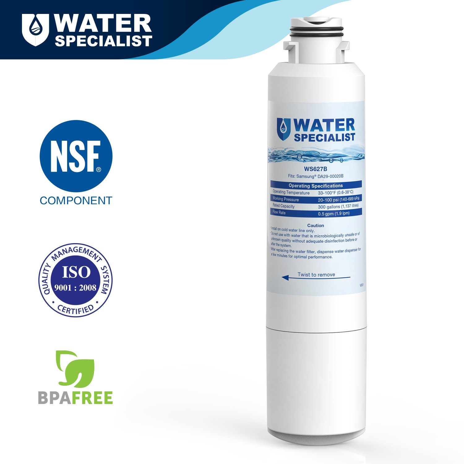 Details about Waterspecialist Refrigerator Water Filter, Replacement for  Samsung