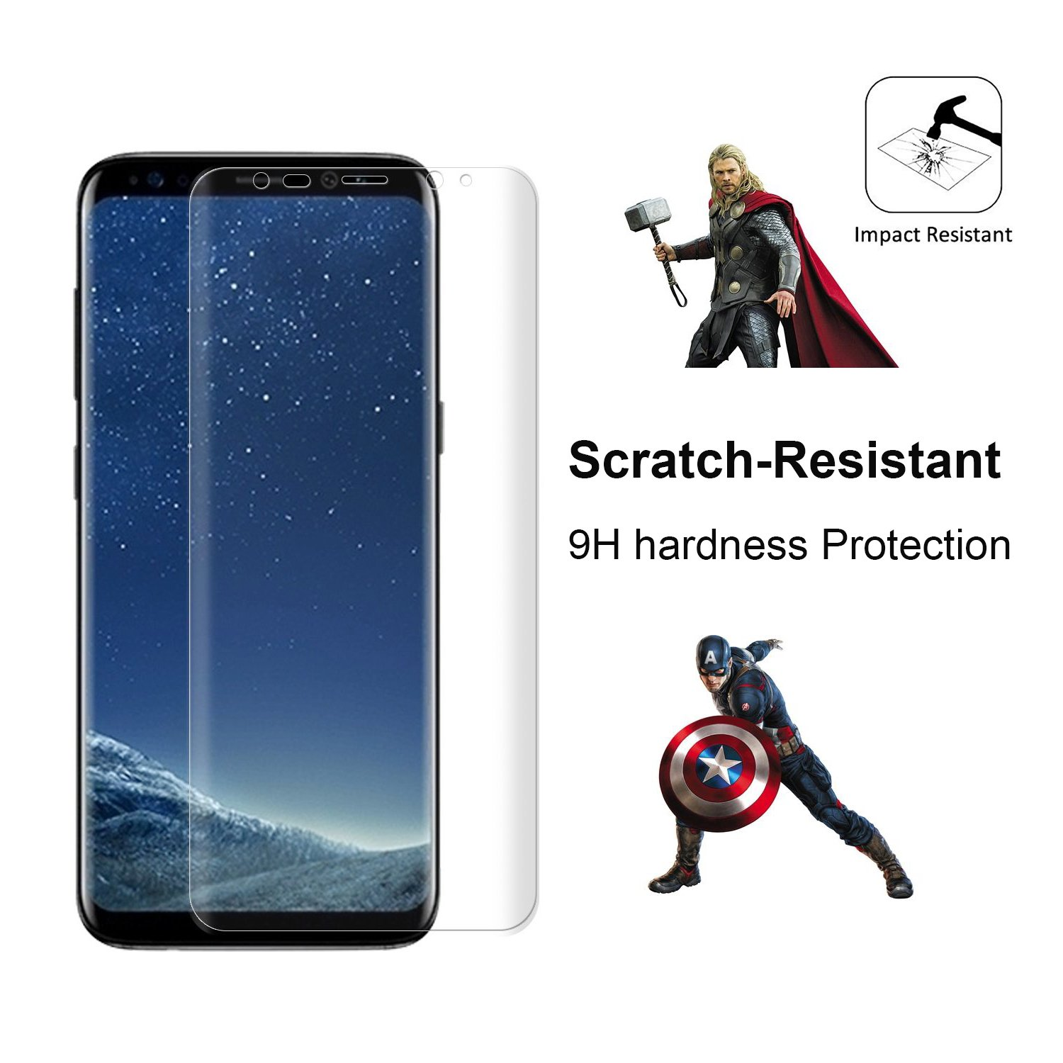 Galaxy S8 Edge Screen Protector Monez 2 Pack [Full Coverage][Case Friendly][Not Glass][Anti Scratch] HD Clear TPU Curved Full Screen Protector for