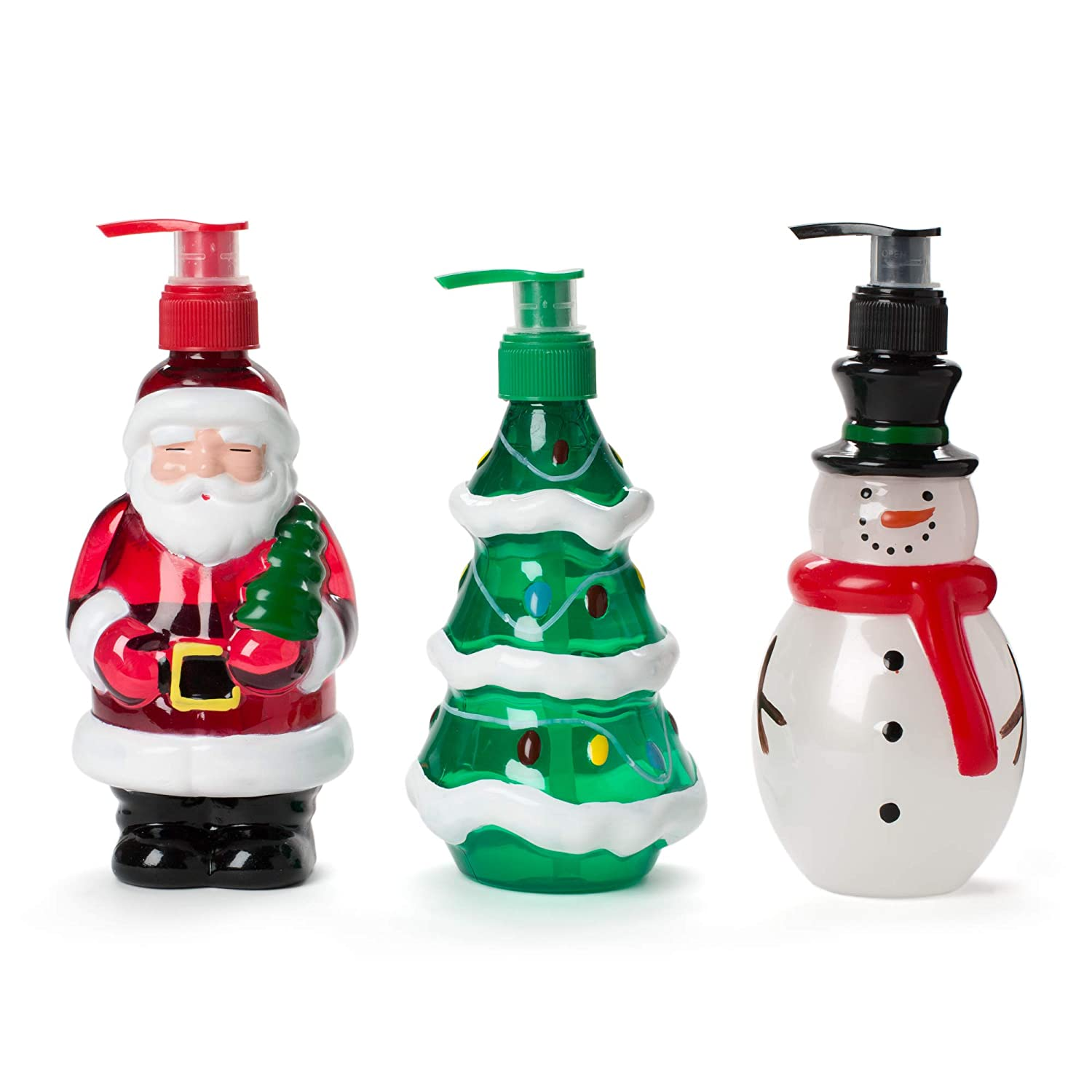 Liquid Hand Soap Holiday Bottles: Tri-Coastal Design Simple Pleasures Scented Hand Soaps - Sugar Coated Apple, Frosty Delight and Snow Flurries Scents - Novelty Shape Pump Bottle Dispensers, 3 Pack