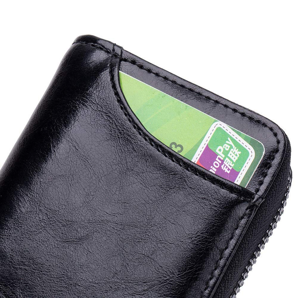 Wallets Accord Zipper Card Package Multi-Card Position Mens and Womens Multi-Function Credit Card Package Travel Thin Color : Rose