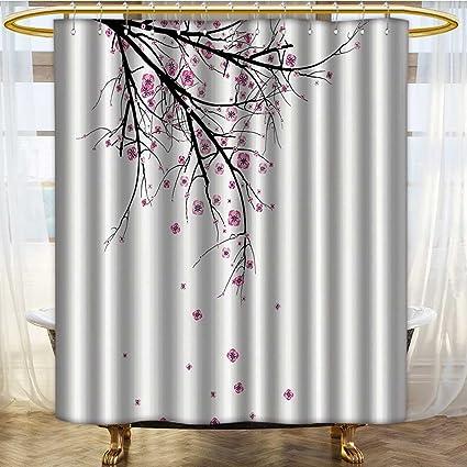 PRUNUSHOME House Decor Shower Curtain Set Cherry Blossoming Falling Petals Flowers Springtime Park Simple Illustration Print
