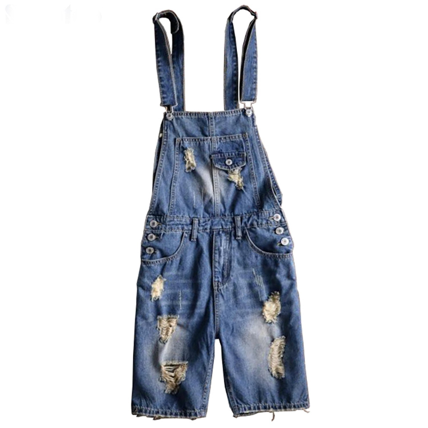 e5db152859 Henraly Men s Plus Size Knee Length Ripped Denim Bib Overalls Shorts Summer  Holes Blue Distressed Jumpsuits Jeans at Amazon Men s Clothing store