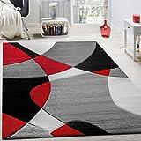 Paco Home Alfombra De Diseño Moderna Estampado Geométrico Contorneada En Rojo Negro Gris, tamaño:160x230 cm