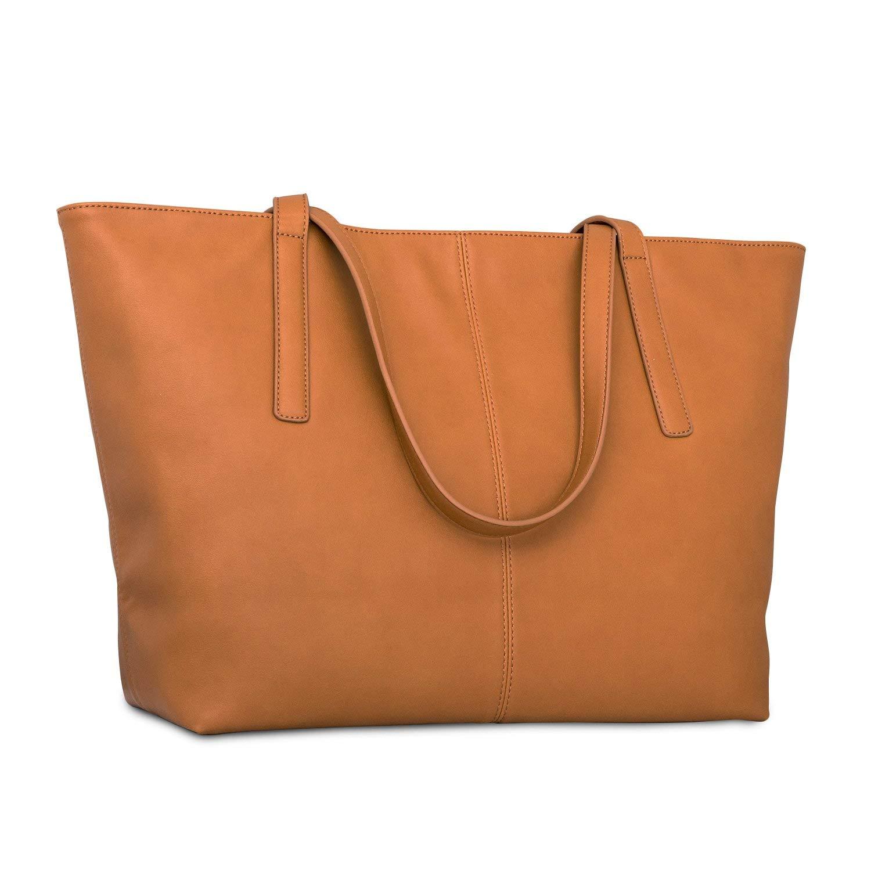 Expatrié Sac à main fourre-tout marron cuir végétalien pour femmes - Sac à main en cuir artificiel haute qualité - Grand sac à bandoulière pour femmes avec compartiments & fermeture éclaire