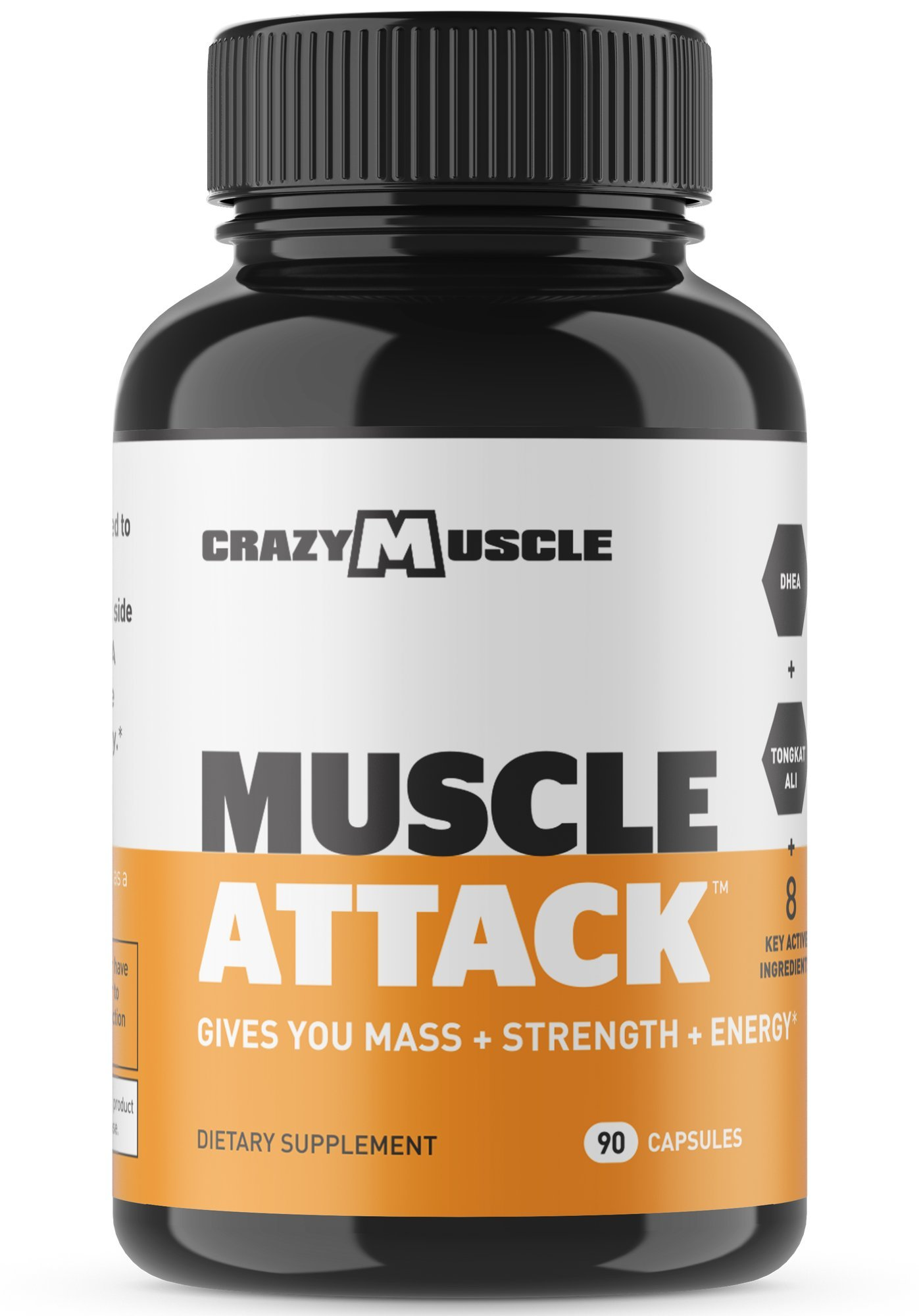 Muscle Attack is a Powerful DHEA Supplement that Boosts Testosterone, Maintains it and Protects against Side Effects by Crazy Muscle - 90 Tablets