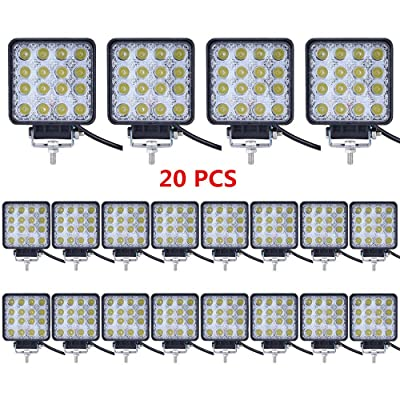 Led Light Bar,Lumitek 20PCS 4inch 48W Led Work Light Square Flood lights Off-road Lights Led lights for Trucks,Off-road Vehicle, ATV, SUV, UTV, 4WD, Jeep, Boat and more ……: Automotive