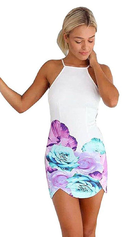 Sunnywell Women's Slim Summer Floral Print Gallus Sleeveless Backless Dress Large