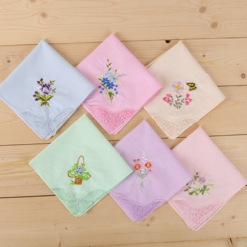 Amazon.com: WINDLY Women\'s Handkerchiefs Hankies 100% Cotton with ...