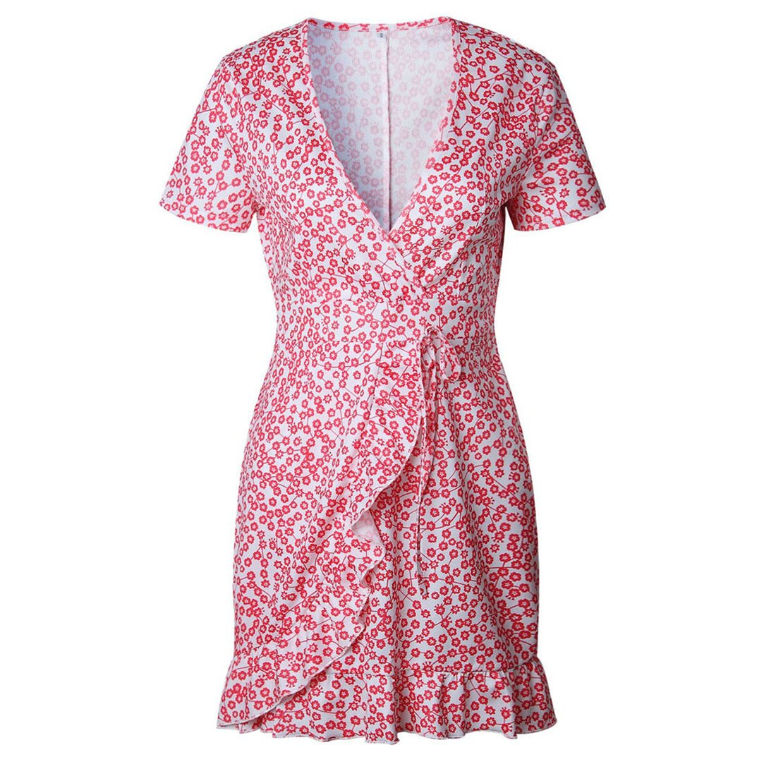 Womens Dresses,Moonuy Girl Short Sleeve V Neck Irregular Floral Mini Evening Party Dress Clubwear Elegant Loose Playsuit Jumpsuits Beach Dress For Ladies ...