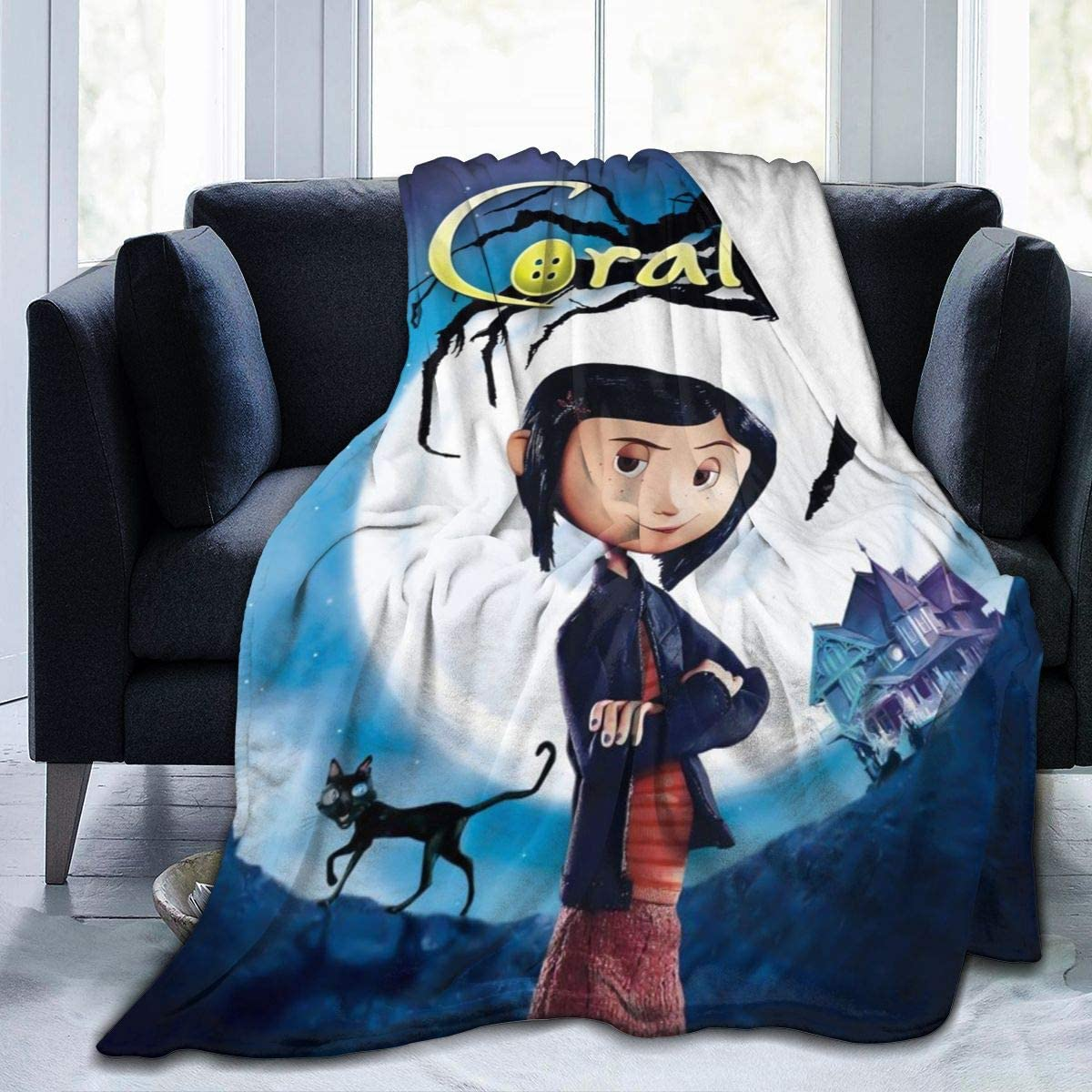 Amazon Com Luxury Fleece Bed Blankets Coraline And The Secret Door Halloween Poster Christmas Throw Blankets Washable Ultra Cozy Large Blanket For Girls Living Room Picnic Home Kitchen