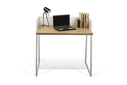 Temahome volga scrivania legno bianco rovere cm