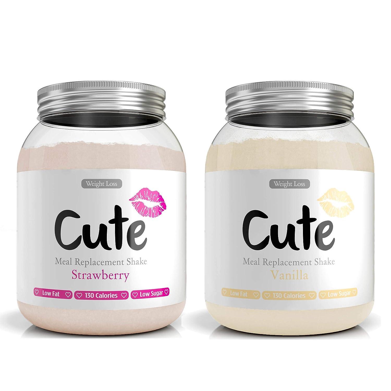 Cute Nutrition Vainilla y Fresa 2 Batidos de Reemplazo de Comidas ...