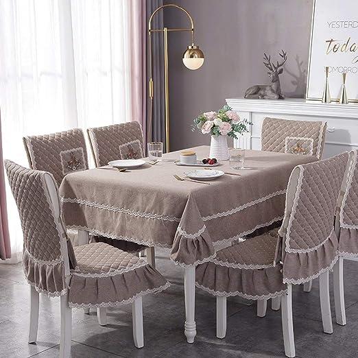 Duanguoyan Mantel- Juego de Fundas para sillas de Mantel de Lino de algodón de Color sólido para el hogar (Color : Coffee, Size : 4+130X180cm): Amazon.es: Hogar