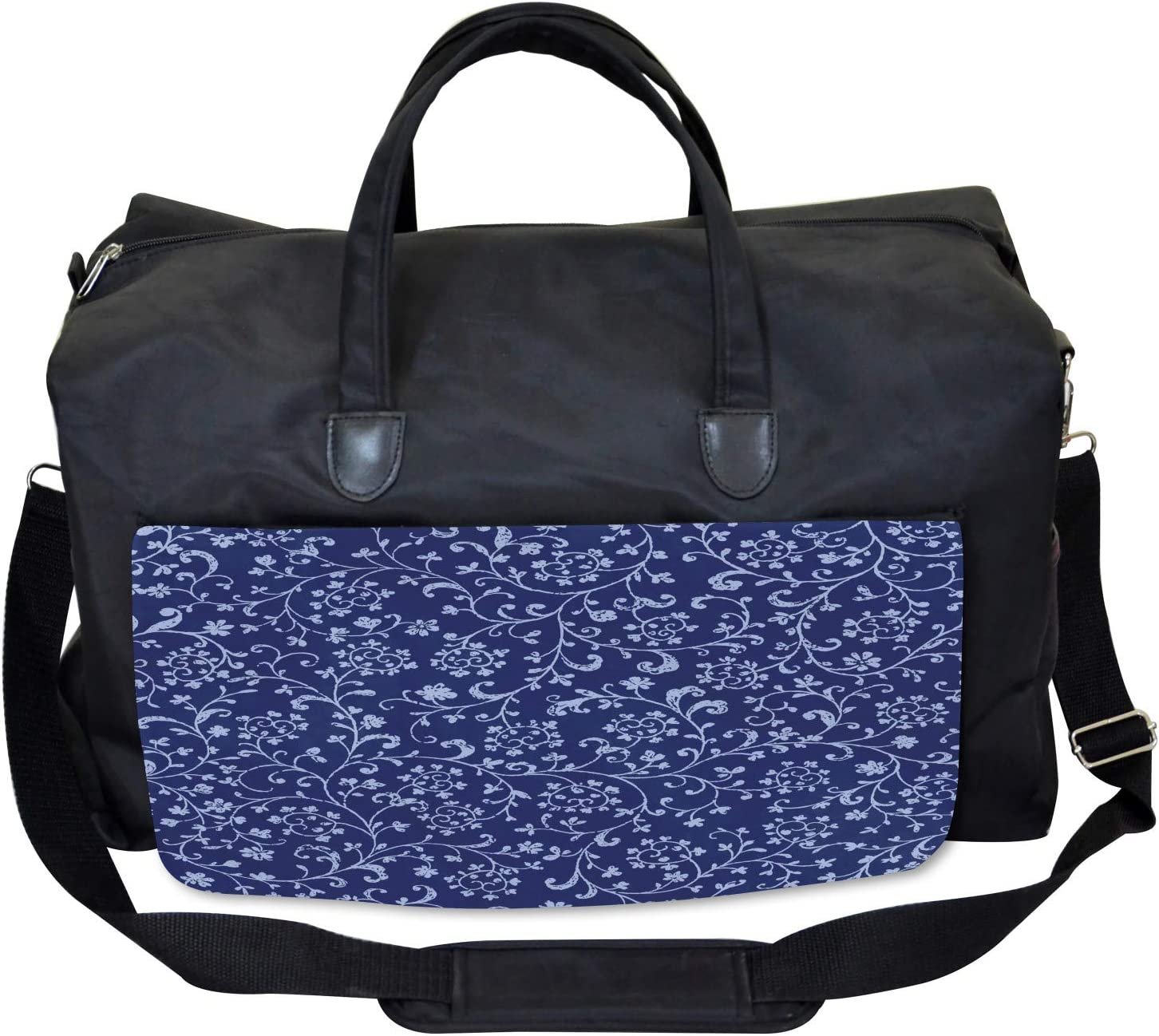 Ambesonne Floral Gym Bag Large Weekender Carry-on Baroque Classic Damask