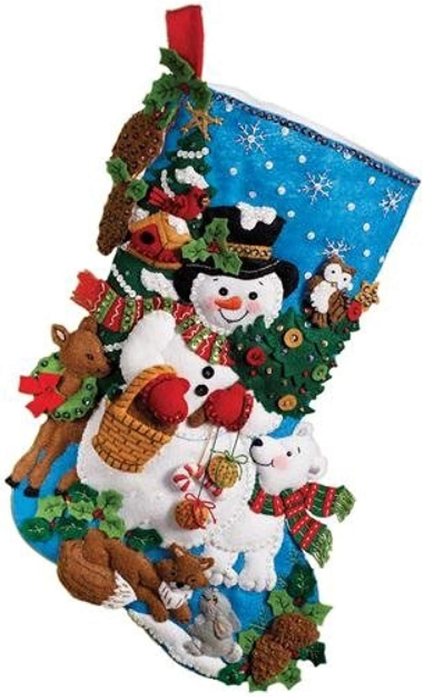 Bucilla 18-Inch Christmas Stocking Felt Applique Kit 86505 Woodland Snowman
