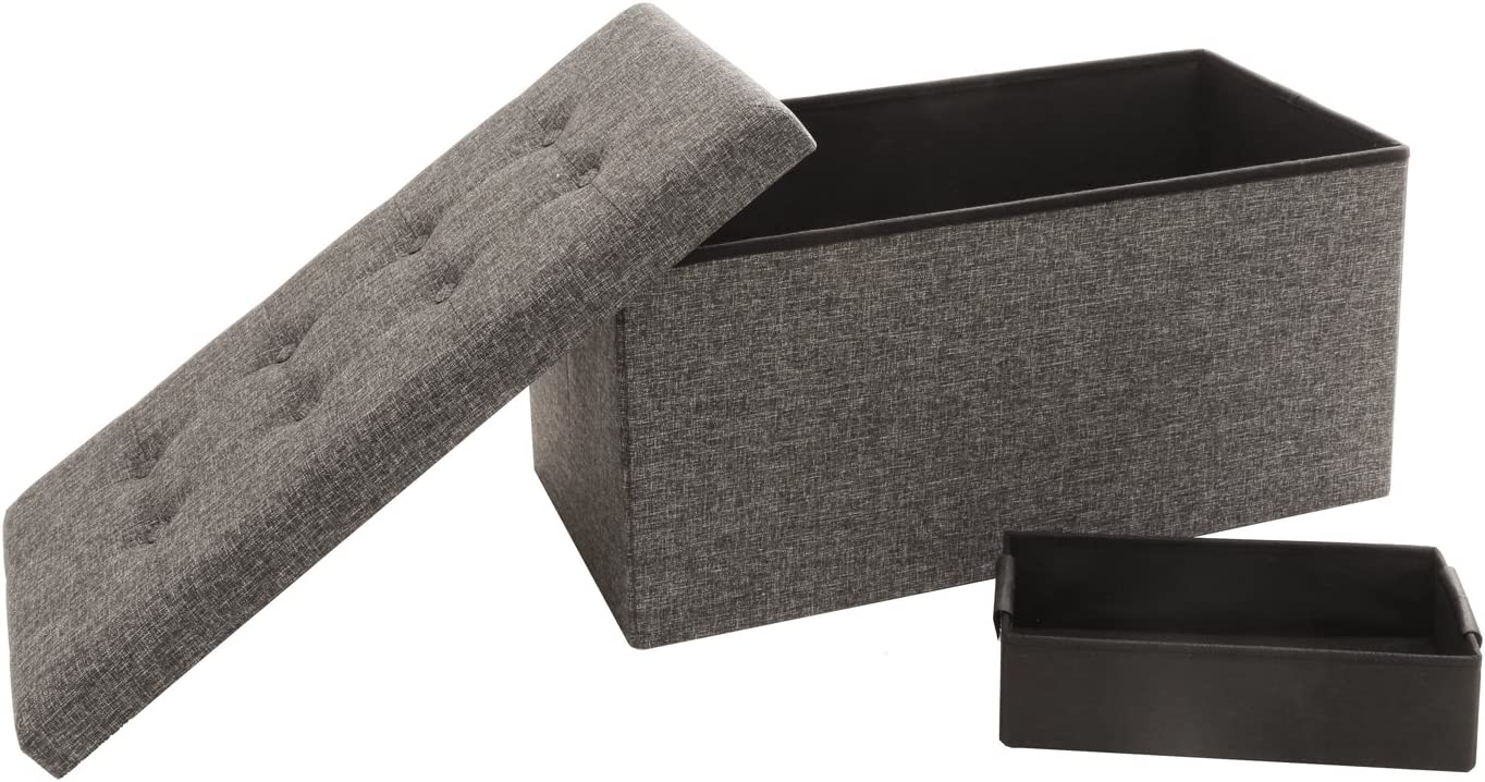 Seville Classics Foldable Tufted Storage Bench