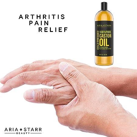 Amazon.com : Aria Starr, aceite de ricino mejor prensado en frío 100% Puro Aceite capilar para el crecimiento del pelo, cara, humectante en la piel, ...