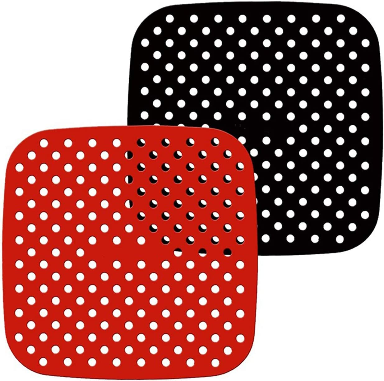 Reusable Air Fryer Liners Square, Non-Stick Silicone Air Fryer Basket Mats Air Fryer Accessories For Air Fryer Deep Fryer & Oven And More, 8.5 Or 7.5 In Or Diy Size, Bpa Free (2-Pack) (8.5 IN)