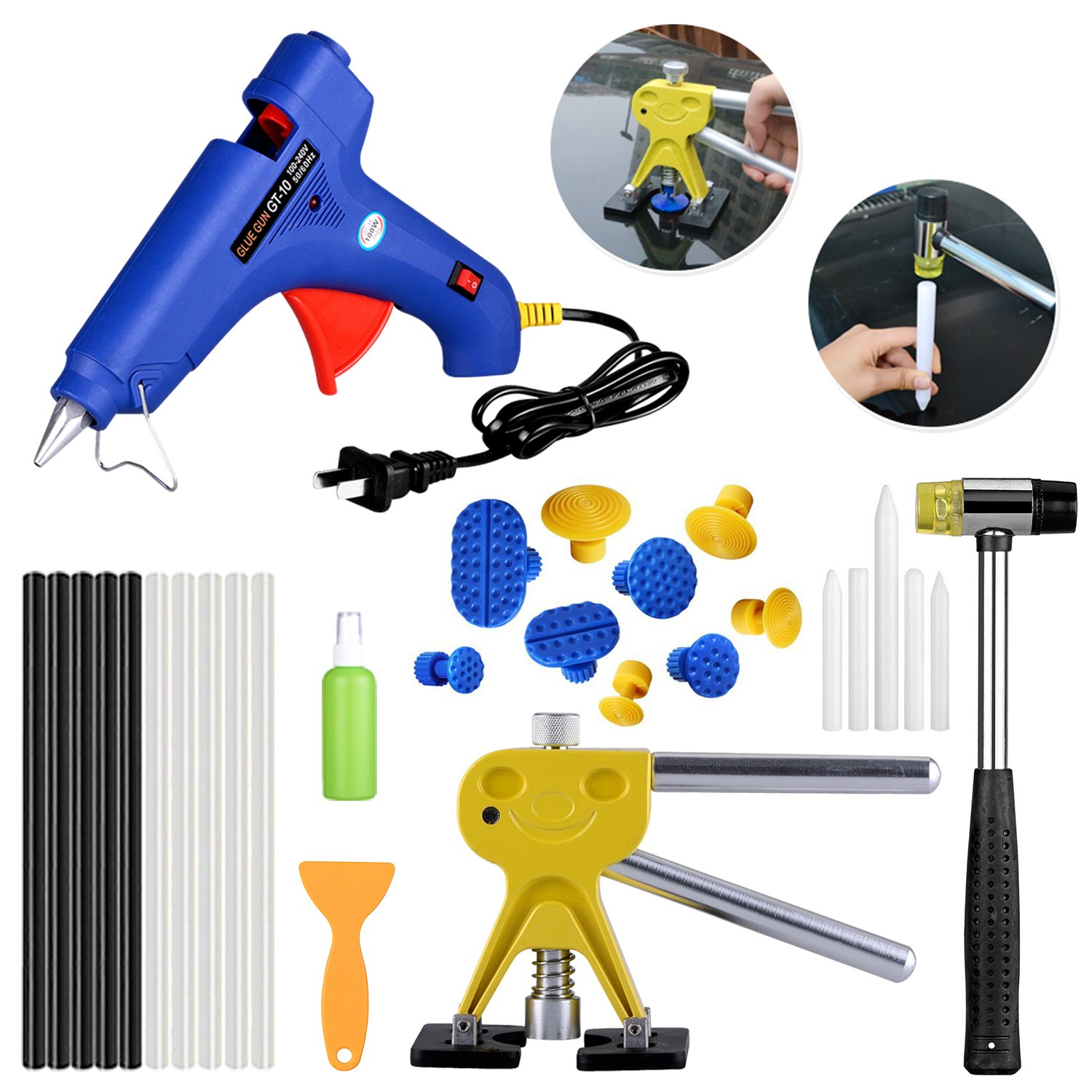 AUTOPDR 29Pcs DIY Pops a Dent PDR Tool Kit Dent Repair Tools Car Dent Remover Paintless Dent Removal Kit Suction Cup Dent Puller with Hot Melt Glue Gun Sticks