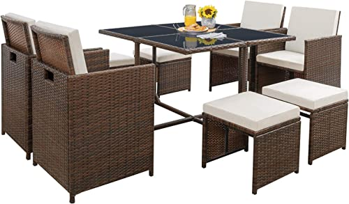 Tuoze 9 Pieces Patio Furniture Dining Sets Outdoor Sectional Rattan Patio Conversation Set Space Saving Cushioned Set