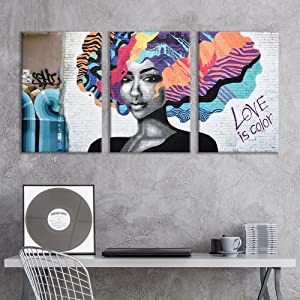"wall26 - 3 Panel Canvas Wall Art - Triptych Street Graffiti Series - Love is Color - Giclee Print Gallery Wrap Modern Home Decor Ready to Hang - 24""x36"" x 3 Panels"