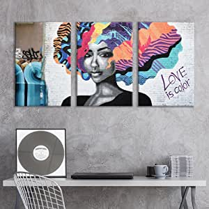 Wall26 3 Panel Canvas Wall Art Triptych Street Graffiti Series Love Is Color Giclee Print Gallery Wrap Modern Home Art Ready To Hang 16 X24 X 3 Panels Posters Prints