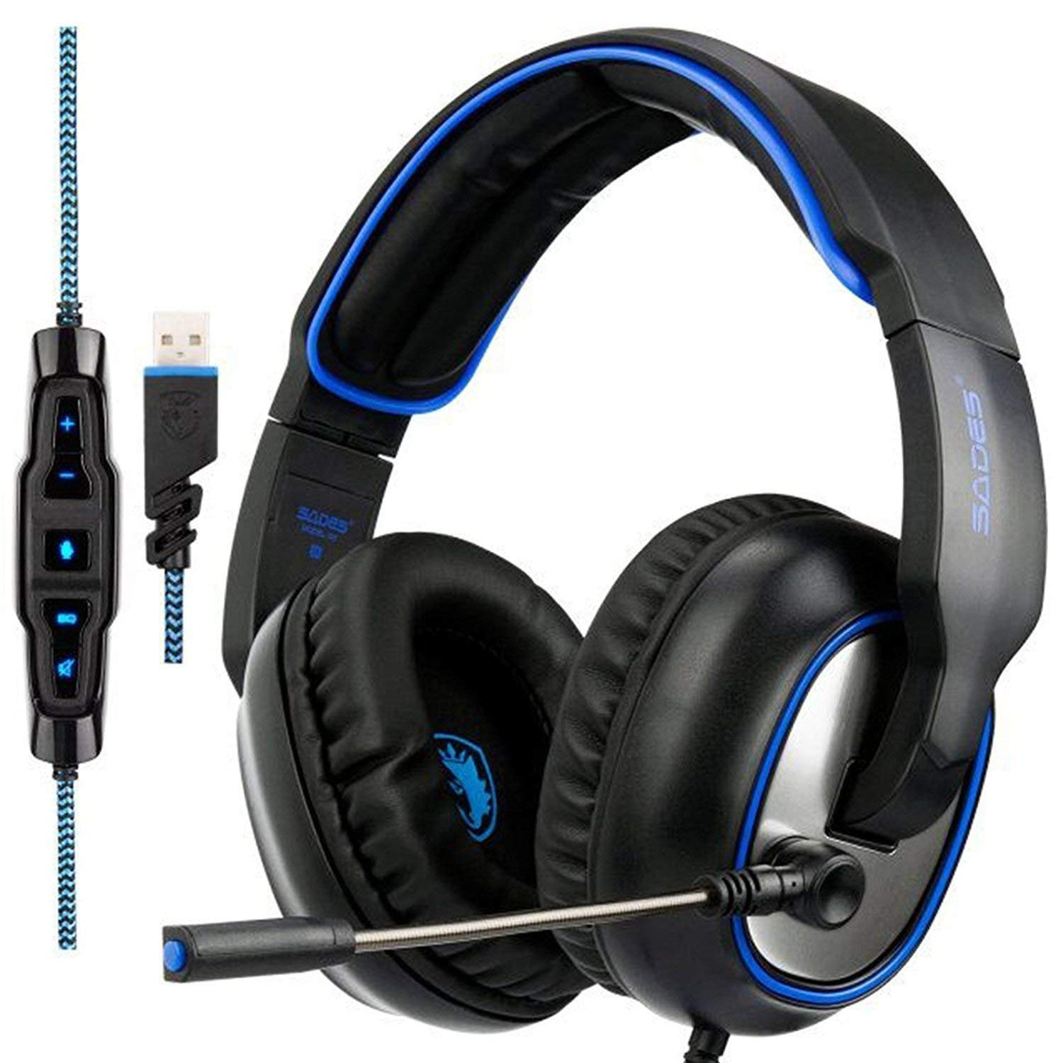 GW Sades R7 Virtual 7.1 Channel Surround Sound Gaming Headset, USB Wired Over Ear Headphones with Microphone&EQ Mode&Noise Cancelling&in-line Volume Control&LED for PC PS4 Mac(Black&Blue)