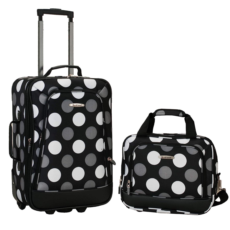 04bd90b3d Amazon.com | Rockland Luggage 2 Piece Printed Luggage Set, New Black Dot,  Medium | Luggage Sets