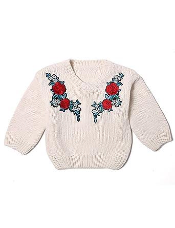 bb1539b40 Amazon.com  Deerbabi Toddler Baby Girls Knitting Embroidery Sweater ...