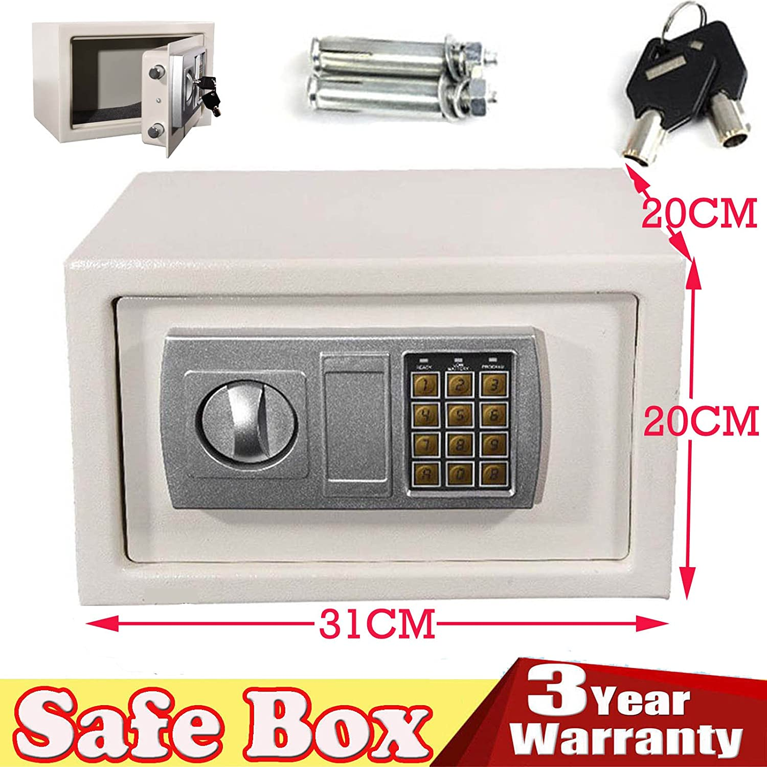 8.5L Safe Electronic Security Box Digital Password /& Keys Combination Lock for Home Office Hotel Antitheft Wall Mounted Steel Safety Box Storage Cash Money Jewelry White