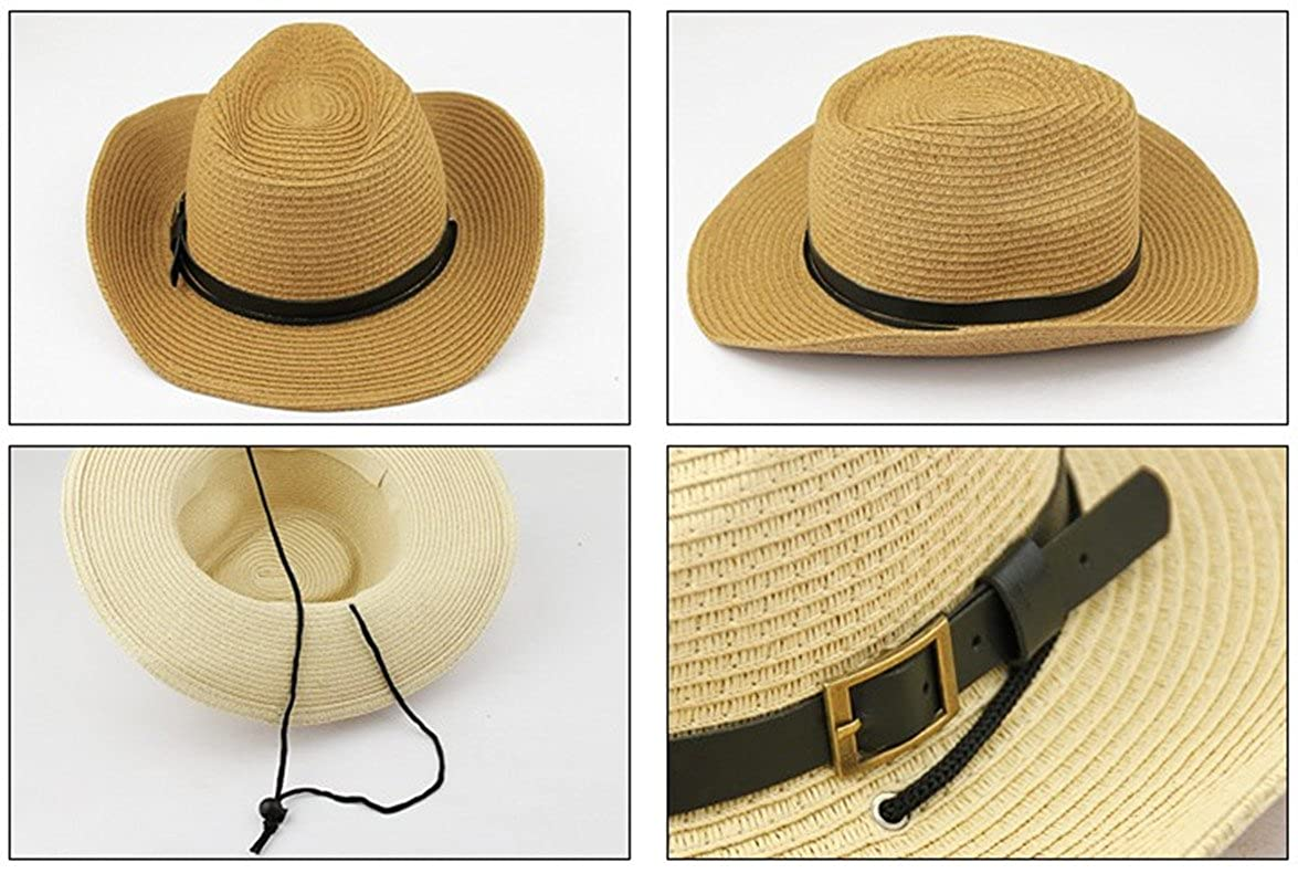 218fe2ba148 Mens Womens Straw Cowboy Hat Outdoor Summer Beach Wide Brim Sun Cap Beige   Amazon.ca  Clothing   Accessories