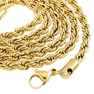 66711f8c1 Niv's Bling 18K IP Yellow Gold Plated Stainless Steel Rope Chain (4mm, 20  Inches