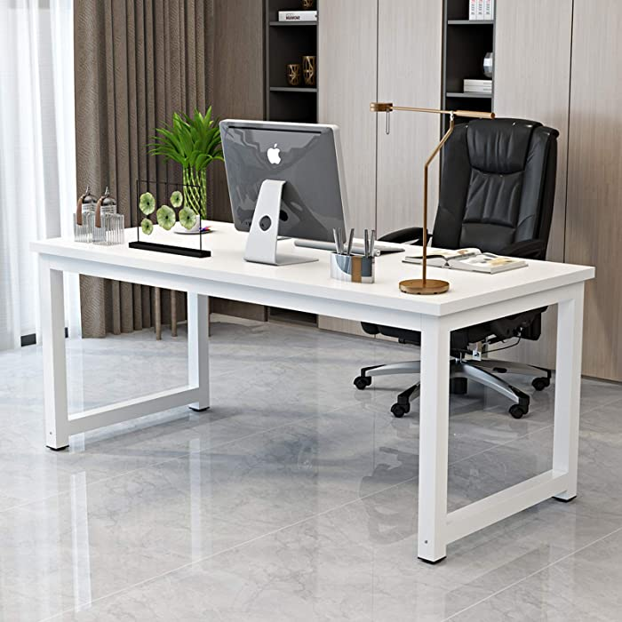 "Computer Desk for Home Office PC Laptop Notebook 31"" Study Writing Table Modern Simple Office Workstations White Metal Frame"