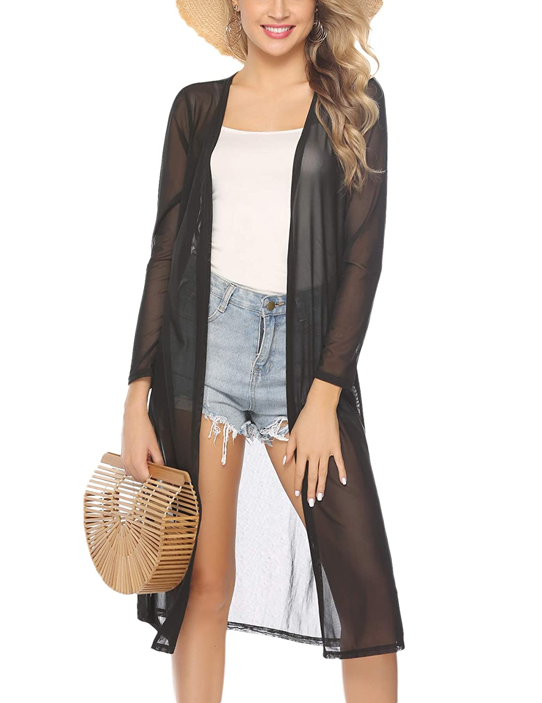 1920s Shawls, Wraps, Scarves, Fur Stole Abollria Womens Long Sleeve Cardigans Open Front Draped Kimono Loose Cardigan $18.99 AT vintagedancer.com