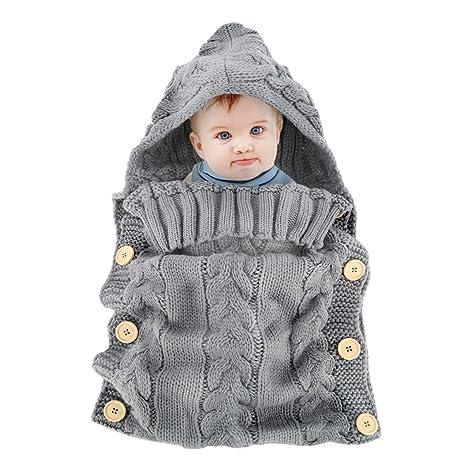 Yinuoday - Saco de dormir para bebé (forro polar, tejido de ganchillo, con