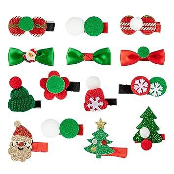 Kids Girl Christmas Holiday New Snowflake Ribbon Hair Bows Clip Children Hairpin