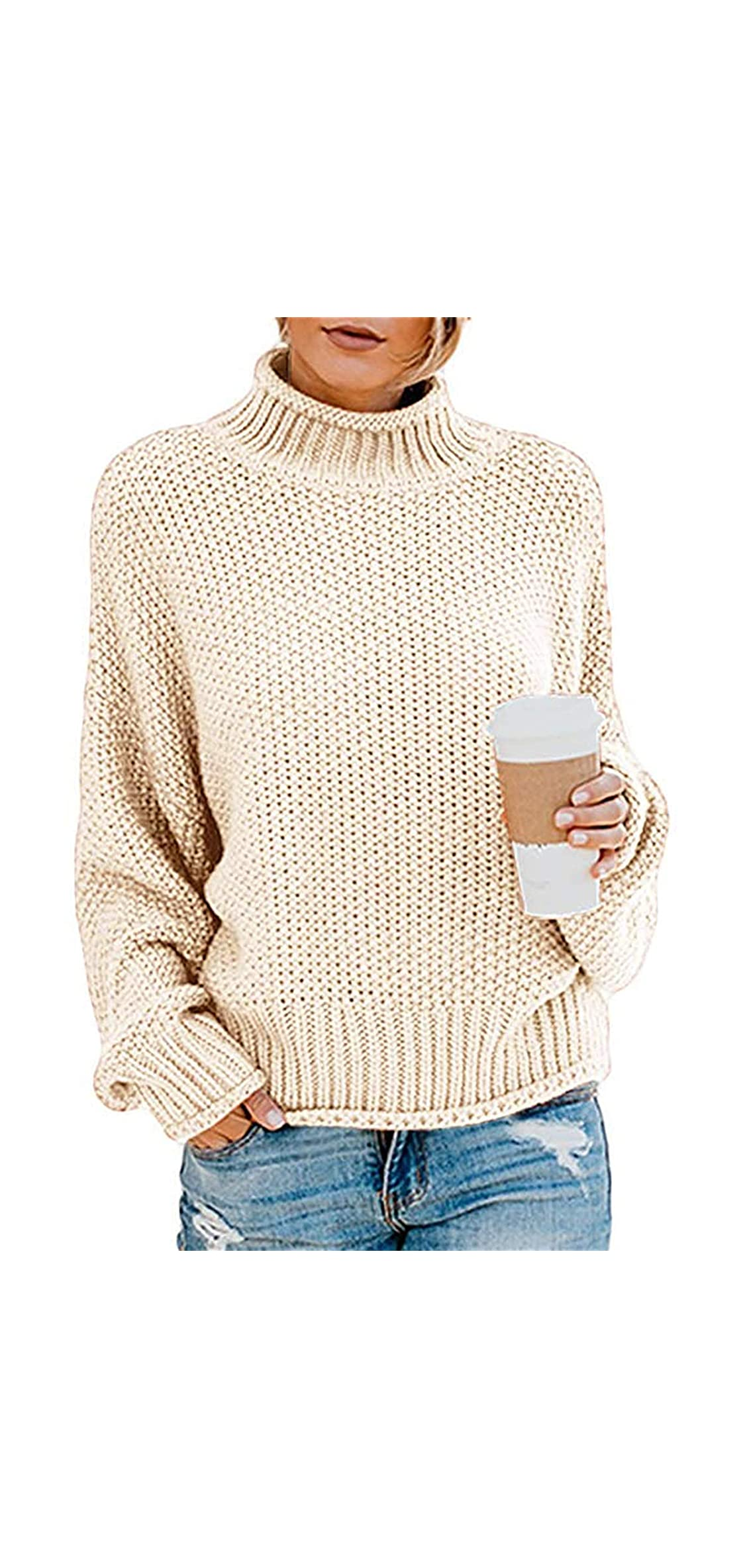 Womens Chunky Turtleneck Sweaters Batwing Sleeve Knitted