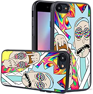iPhone 7 Case,iPhone 8 Case,LEALIN Rick and Morty Antiskid Handle Black TPU Phone Case for iPhone 7,iPhone 8 Cover